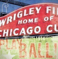 Wrigley Field Chicago Cubs baseball sign original by geministudio, $80.00