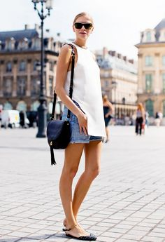 Look classic + chic in your boyfriend jean shorts // paired with white tank blouse and black flats