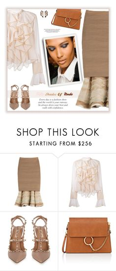 """Fifty Shades of Nude"" by fassionista ❤ liked on Polyvore featuring Donna Karan, See by Chloé, Valentino, Chloé and Nak Armstrong"