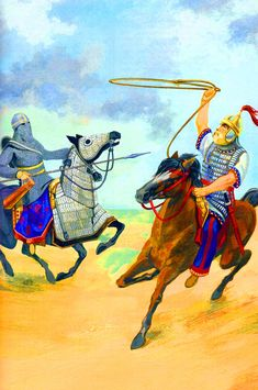 The duel between the Persian Ardazan and the Byzantine Gothic warrior Areowind Ancient Persian, Ancient Egyptian Art, Ancient History, Ancient Aliens, Ancient Greece, Ancient Mesopotamia, Ancient Civilizations, Historical Art, Historical Pictures