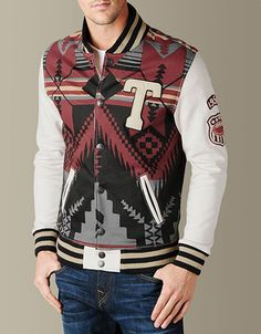 Vintage aesthetics mix with southwestern style in the Printed Fleece Jacket for an on-trend outerwear look. A classic lettermans jacket is. Bohemian Style Clothing, Fresh Outfits, Boys Sweaters, Mens Activewear, Varsity Jackets, Bomber Jackets, Letterman Jackets, Young Fashion, Colourful Outfits