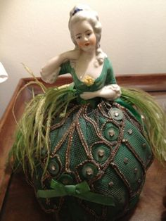 Vintage Beautiful Emerald Green half doll pincushion doll 8 1/4inches