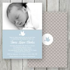 Beautiful Christening photo invitation for a little boy designed & printed on double sided card by Peach Perfect Australia. Baptism Invitation For Boys, Christening Invitations Boy, Christening Favors, Baptism Party, Photo Invitations, Baby Party, Wedding Invitations, Christening Photos, Baby Boy Christening