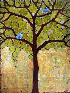 Modern Print Art Tree Birds Earth Tones Large Signed Print 11X14 Bluebirds. via Etsy.