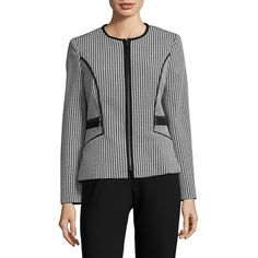 Nipon Boutique Women's Houndstooth Jacket (1,815 EGP) ❤ liked on Polyvore featuring outerwear, jackets, black white, long sleeve jacket, full zip jacket, black and white houndstooth jacket, houndstooth jacket and zip front jacket