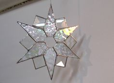 suncatcher irridescent star, office decoration, art and collectibles, holiday decoration, glass art, home decor, window art, star decoration by FragmentsGlass on Etsy