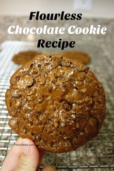 Try this flourless chocolate chewy cookie recipe. It is fudgy inside and crisp and delicate on the outside. Flourless Chocolate Cookies, Chocolate Cookie Recipes, Party Favors For Kids Birthday, Dark Chocolate Chips, Filipino Recipes, Salted Butter, Vegetarian Chocolate, Baking Recipes, Crisp