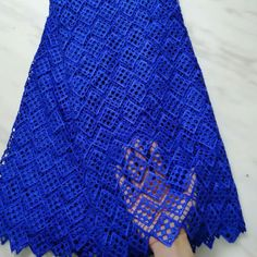 Hot sale royal blue african water soluble lace embroidery french guipure lace fabric for dressing Bleu Royal, Royal Blue, Water Soluble Fabric, Suit Pattern, White Embroidery, French Lace, Lace Fabric, Lace Shorts, Dressing