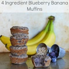 4 Ingredient Blueberry Banana Muffins Recipe Breakfast and Brunch with oatmeal, almond milk, bananas, blueberries