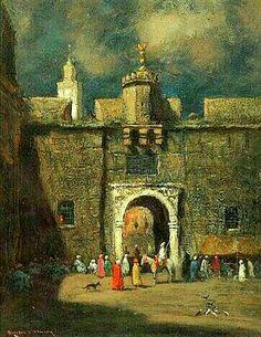 Algérie - Peintre Américain , Addison Thomas Millar (1860 –1913), huile sur toile, Titre : Fort -Bab Azzoun , Alger