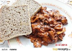 Houby po maďarsku recept - TopRecepty.cz Chicken Wings, Food And Drink, Pork, Beef, Cooking, Pork Roulade, Meat, Cucina, Pigs