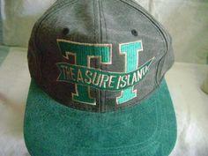 Treasure Island At The Mirage Ball Cap Hat Las Vegas Buckle Adjustable Gray Teal