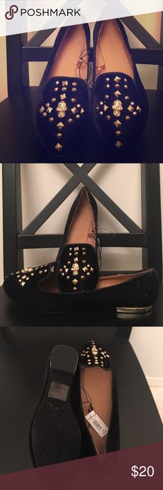 Torrid black loafs with studs and skull Size 10 NWT black loafers with studs and skulls. Brand new and never worn. Store in smoke free and pet free closet. Torrid flats run wide these are great for those that have to size up in their flats normally at places like target for more width room. torrid Shoes Flats & Loafers