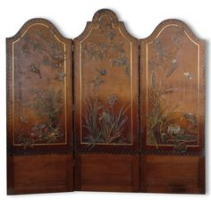 Georg Hulbe, Hamburg (attributed). Screen, circa 1900. H. 151.5 cm; 150 x 2 cm. Mahogany, leather cover. Reliefed depiction of Japanesque marsh landscapes, including birds, pond flowers and insects. | SOLD 450 EUR, 2011