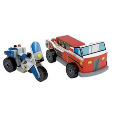 Toy Fire Truck & Police Motorcycle Vehicle Set @catalog spree - one step ahead