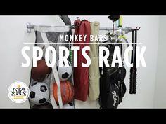 Sports Rack by Monkey Bars Monkey Bar Storage, Sport Rack, Garage, Sports, Carport Garage, Hs Sports, Excercise, Garages, Sport
