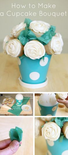 Cupcake Rose Bouquet Tutorial!   #white #roses #rose #cupcakes #rosecupcakes #diy #bouquet #weddings #food    http://thecakebar.tumblr.com/post/23208860603/how-to-make-a-cupcake-flower-bouquet-tutorial