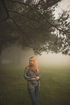 Natural outdoor portraits with megan bea tiernan in mist, fog forest in killiney hill  0020
