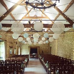 Lovely lanterns in lace and duck egg blue for today's Caswell couple! The wonderful work of @oakwoodevents #caswellhouse #wedding #cotswolds #lighting #summerwedding