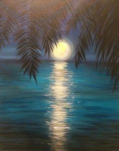 View Paint and Sip Artwork - Pinot's Palette Acrylic Art, Sunset Acrylic Painting, Beginner Painting On Canvas, Beach Sunset Painting, Moonlight Painting, Basic Painting, Canvas Painting Tutorials, Easy Paintings, Ocean Paintings On Canvas