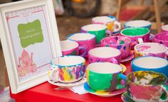 Paint tea cups activity for tea party. We could do this with the extra tea cups (if we get another set).