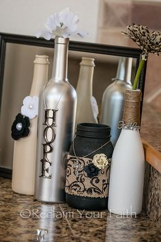 Wine Bottle Home Decor by ReclaimYourFaith on Etsy Wine Bottle Art, Glass Bottle Crafts, Painted Wine Bottles, Diy Bottle, Bottles And Jars, Glass Jars, Decorated Bottles, Garrafa Diy, Wine Craft