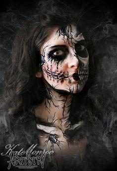 LOVE THIS!! Halloween face Paint Body Art Scary Broken Doll Skull Skeleton