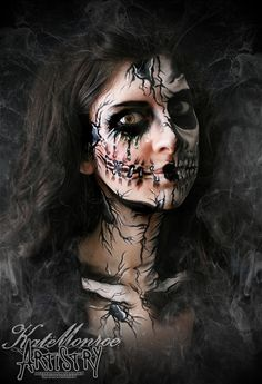 LOVE THIS!! Halloween face Paint Body Art Scary Broken Doll Skull Skeleton