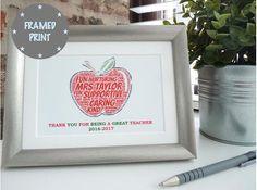 personalised apple for the teacher framed print personalised teacher print personalised teacher thank you framed print teacher gift