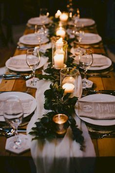 Natural Wedding Inspiration with an Illuminated Reception Rustic candlelit wedding reception centrepiece with foliage and chiffon table runner Bonnie Jenkins Wedding Reception Ideas, Wedding Reception Centerpieces, Wedding Table Settings, Setting Table, Wedding Receptions, Wedding Table Runners, Wedding Ceremony, Fall Wedding Table Decor, Long Wedding Tables