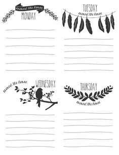 Daily Lists_blank-1 - The full Week is a FREE PDF Download to print....scroll down blog to click picture for download.