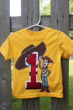 Toy story woody t-shirtdiy with iron-on? Woody Birthday, Hockey Birthday, 2nd Birthday Shirt, Baby Boy 1st Birthday, Toy Story Birthday, First Birthday Parties, First Birthdays, Birthday Ideas, Cumple Toy Story