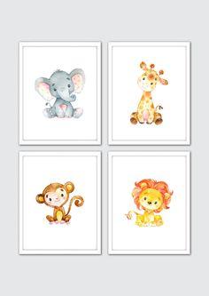 Safari Nursery, Jungle Nursery Art, Baby Safari Animals, Watercolor Animals, Safari Nursery Art, Safari Friends, African Animals, Jungle Art by RomeCreations on Etsy