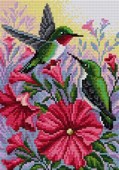 V-50 Колибри Вышиваем Бисером Small Cross Stitch, Cross Stitch Bird, Cross Stitch Borders, Cross Stitch Animals, Cross Stitch Flowers, Cross Stitch Charts, Cross Stitch Designs, Cross Stitching, Cross Stitch Embroidery