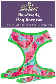 Watermelon dog harness, Boy dog harness, Girl dog harness, Handmade custom dog harness #pugharness #dogharness #Frenchbulldog #Frenchieharness #Puppy