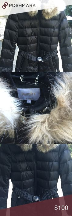 Coat with faux fur trim Fabulous conditions! The size is Medium but still too tight for me, maybe work better for someone who were size S. This coat is very stylish, belted with a faux fur trimmed hood removable, zip front and pockets. Laundry by Shelli Segal Jackets & Coats Puffers