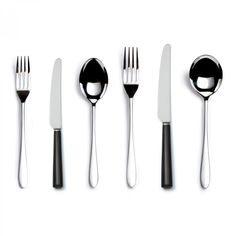 Pride Black Handled Six-piece Cutlery Place Setting - David Mellor Design #davidmellor #cutlery #flatware #tabletop #tableware