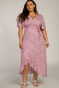Plus Size Red Floral Wrap Tie Maxi Dress. Red Floral Short Flutter Sleeve Wrap Maxi Dress Plus Size. A red floral printed wrap tie plus size maxi dress featuring ruffle details, v-neckline, and flutter sleeves. #PlusSizeDresses #getthelook #PlusSize  #PlusSizeFashion #PlusSizeStyle #CurvyGirl #plussizedivas #boldcurvyfashionista  #curvy #curvyfashionista Maxi Wrap Dress, Floral Maxi Dress, Plus Size Maxi Dresses, Short Sleeve Dresses, Dress Out, Flutter Sleeve, Plus Size Fashion, Neckline, Community Boards