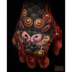 by gurutattoo - Incredible foo dog by Mr. @YushiTattoo. This job stopper might just get you the gig! #gurutattoo #yushitattoo #handtattoo #foodogtattoo #sandiegotattooartist