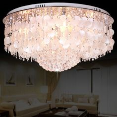 Crystal Flush Mount with White Mother of Pearls Chandelier Ceiling Lamp Flush Ceiling Lights, Flush Mount Lighting, Flush Mount Ceiling, Ceiling Lamp, Pearl Chandelier, Lantern Chandelier, Glass Bell Jar, Chandelier In Living Room, Large Chandeliers