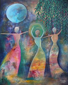 Under a Blue Moon, Original Acrylic Painting, Abstract Painting, Women Dancing…
