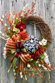 Wreaths, Arrangements and More for Every Occasion by HolidayBaublesWreath Thanksgiving Wreaths, Autumn Wreaths, Thanksgiving Decorations, Holiday Wreaths, Halloween Decorations, Holiday Decor, Fall Decorations, Fall Diy, Autumn Fall