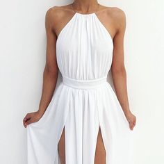 Simple white long prom dresses,A-line backless prom perfect evening gowns · Dream Prom · Online Store Powered by Storenvy Pretty Dresses, Beautiful Dresses, Simple Dresses, Looks Pinterest, Fashion Moda, 90s Fashion, Mode Style, Mantel, Dress To Impress