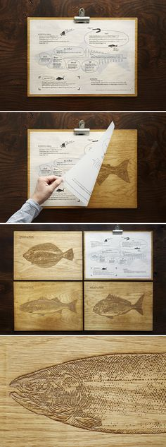 Yashin Ocean House London restaurant wood clip board Plus Label Design, Packaging Design, Branding Design, Graphic Design, Restaurant Menu Design, Restaurant Branding, Wood Menu, Menu Layout, Menu Printing