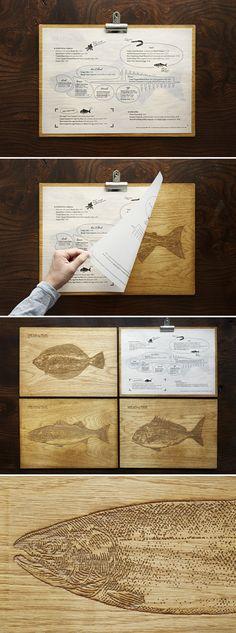 Yashin Ocean House London restaurant #menu #design wood clip board