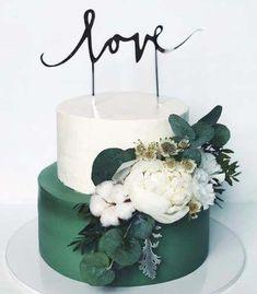 Birthday flowers cake desserts best ideas – lets eat cake Wedding Cake Designs, Wedding Cupcakes, Cake Wedding, Wedding Desserts, Green Cake, Love Cake, Savoury Cake, Tiered Cakes, Cake Art