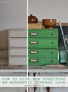 The Painted Hive | How to Create a Vintage Industrial Look on Furniture…using Chalk Paint & Black Wax