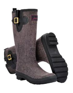 Joules Womens Textured Rain Boot Wellies, Black Snake.                     We have a feeling that you're going to love our new textured rain boot wellies.  With a snakeskin effect that's soft to the touch they'll have you wishing for a rainy day.