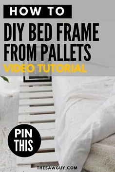 Refreshing your bedroom on a budget? If you're into the shabby chic boho look, click on for our video tutorial on how to build a bed frame from pallets after the jump.  #thesawguy #bohobedroom #shabbychic #palletfurniture #diybedframe #bedroomideas #bedroomakeover #diyfurniture