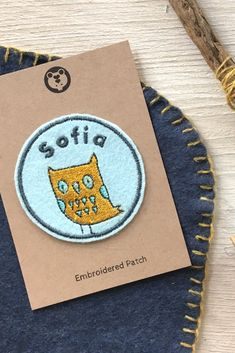 This unique personalised name patch with an owl design would be perfect for decorating clothing, camp blankets or school pencil cases and bags. Handmade in Uk. Custom Name Patches, Embroidered Name Patches, School Pencil Case, Camping Blanket, Wool Wash, Name Badges, Pencil Cases, Wool Felt, Blankets